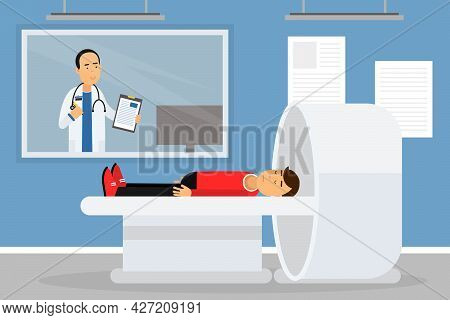 Hospital Staff With Man Doctor And Patient Lying In Tomographic Scanner Vector Illustration