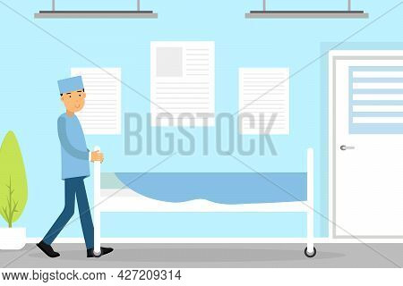 Hospital Staff With Man Surgeon Pulling Surgical Table Vector Illustration