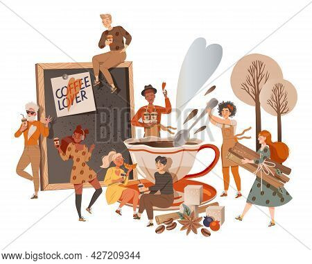 People Coffee Lover Sitting And Standing Near Huge Cup Drinking Hot Aromatic Beverage Vector Illustr