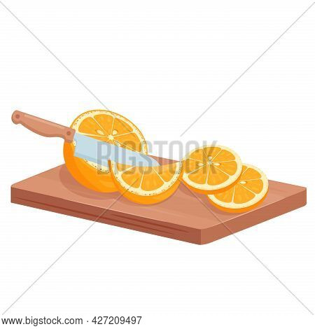 Cut Orange Fruits, Isometric Juicy Slices Of Citrus Fruits For Cooking Cocktail Or Juice