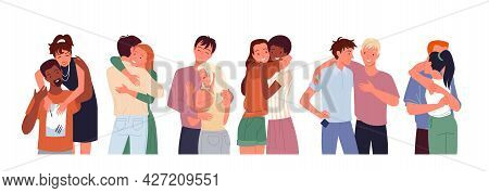 Cartoon Happy People Friends Hug, Diverse Woman Man Character Standing Together, Young Couple Of Gir