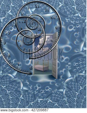 Eternal sleep. Surreal door and spiral clock. 3D rendering.
