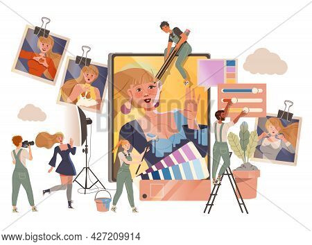 People Photographer In Overall Retouching Photograph With Ink And Paints Vector Illustration
