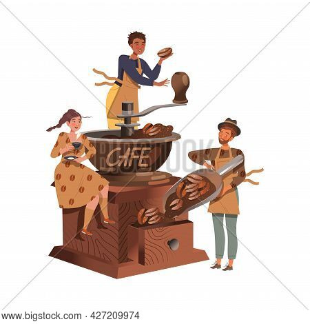 People Coffee Lover Grinding Beans And Drinking Hot Aromatic Beverage Vector Illustration