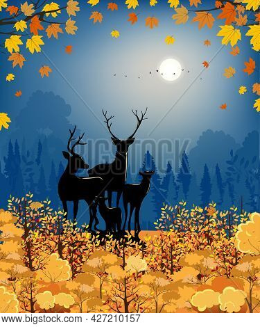 Hello Autumn Forest Silhouette With Reindeers And Full Moon And Blue Sky,mid Autumn Woodland Landsca