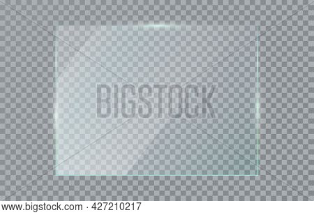 Glass Plate Isolated On Transparent Background. Clear Realistic Horizontal Acrylic Plate. Banner Ple