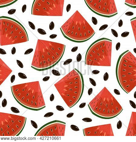 Colored Pattern With Watermelons.pieces Of Red Watermelon On A White Background In A Seamless Patter