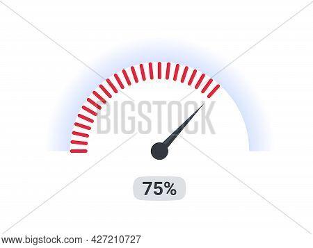 Risk Meter. Speedometer Chart Slide Template. Indicator Meter Of Percent. Vector Illustration