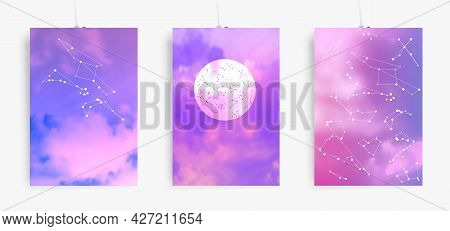 Aesthetic Posters With Sky And Constellations. Trendy Illustrations Set