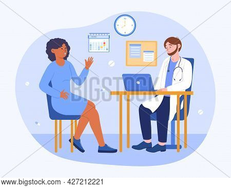 Doctor Consultation Concept. A Woman Tells The Doctor About Her Health Problems. A Man Studies The S