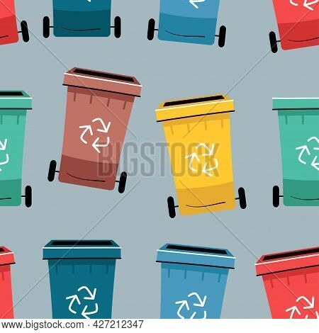 Color Recycle Bin With Recycle Symbol Icon Isolated Seamless Pattern. Trash Can Icon. Garbage Contai