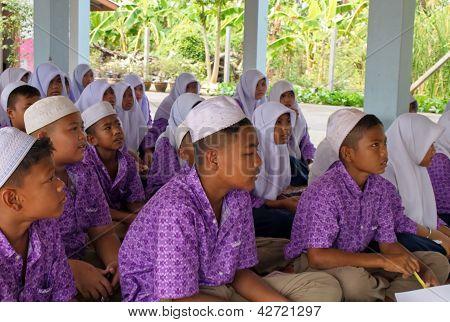 Boys And Girls In A Muslim Public School In Thailand