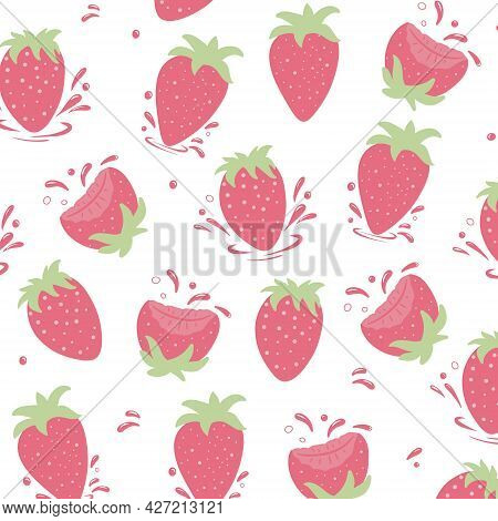 Seamless Pattern Of Fresh Strawberries With Strawberry Drops