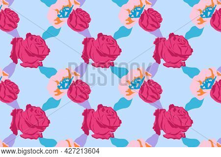 Pink cute floral pattern with roses blue background
