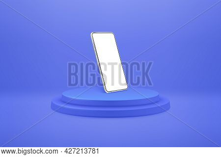 White Realistic Smartphone Mockup On Podium. 3d Mobile Phone With Blank White Screen. Modern Cell Ph