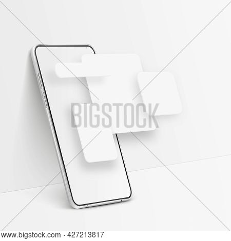 White Realistic Smartphone Mockup. 3d Mobile Phone With Blank White Screen And Ui Elements. Modern C
