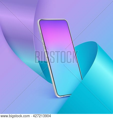 Realistic Smartphone Mockup. 3d Mobile Phone With Colour Screen On Colourful Background. Modern Cell