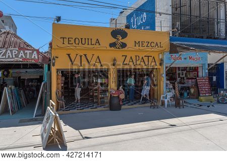 Shops And Restaurants On The Main Street Of Tulum, Quintana Roo, Mexico