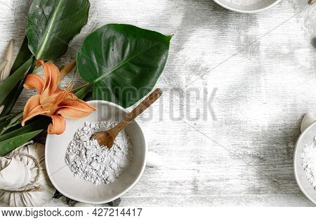 Background With Natural Ingredients Of Powder Consistency For Making A Mask For Skin Care, Making A