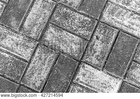Rough Gray Cobble Road, Background Photo Texture, Top View