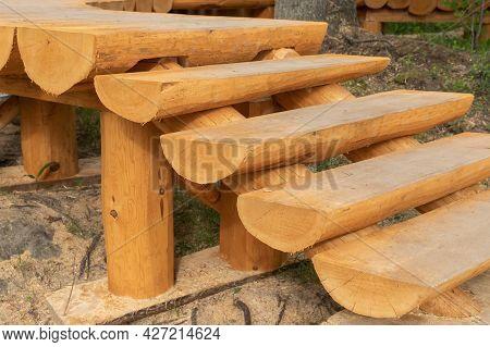 Wooden Stairway Made Of Half-logs, Park Pathway Details