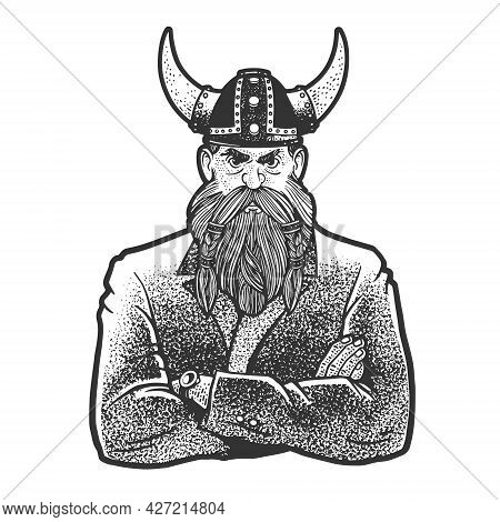 Businessman Medieval Viking Line Art Sketch Engraving Vector Illustration. T-shirt Apparel Print Des