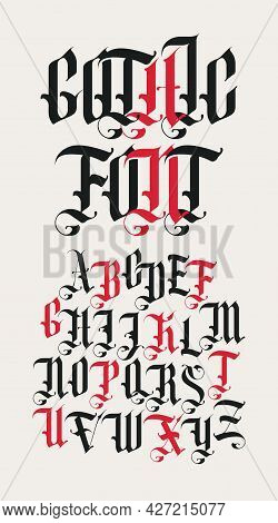 Gothic Font. Full Set Of Capital Letters Of The English Alphabet In Vintage Style. Medieval Latin Le