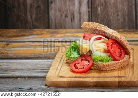 Homemade Sandwiches On The Board With Copy Space.