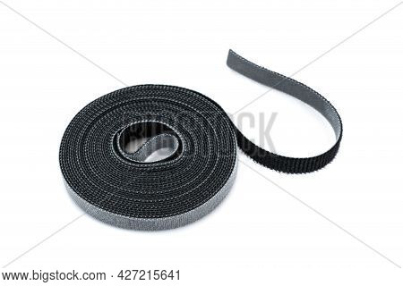 Slim Hook And Loop Tape Or Velcro Rools For Cables On White Background.