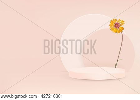 Product backdrop with podium and yellow daisy
