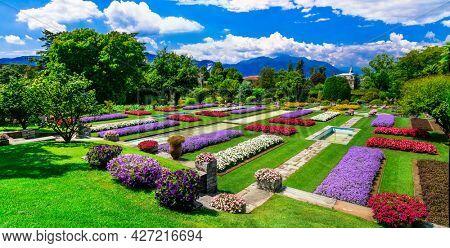 Villa Taranto with beautiful gardens. Beautiful lake Lago Maggiore, North of Italy, Pallanza (Verbania) jul 2018