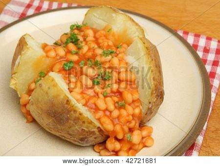 Jacket potato with baked beans.