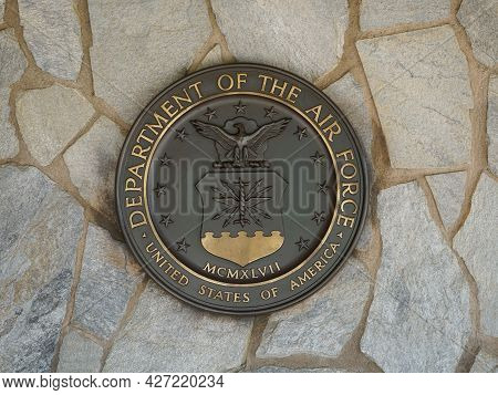 Riverside, California Usa - June 16, 2021: U.s. Air Force Seal, Crest Or Plaque On Flagstone Backgro