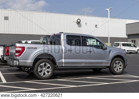Plainfield - Circa July 2021: Ford F150 Display At A Dealership. The Ford F-150 Is Available In Xl,