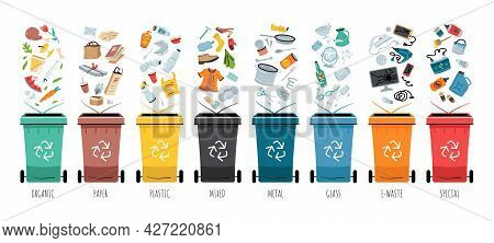 Garbage Segregation. Waste Separate, Classification And Recycling Concept. Colored Dustbin Or Trash