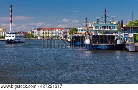 Swinoujscie. Ferry To Ferry Crossing Across The Bay.