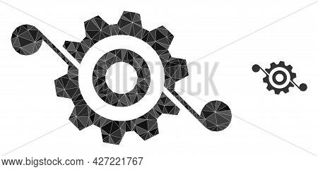 Triangle Gear Solution Polygonal Symbol Illustration. Gear Solution Lowpoly Icon Is Filled With Tria