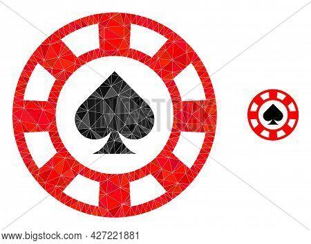 Triangle Spades Casino Chip Polygonal Icon Illustration. Spades Casino Chip Lowpoly Icon Is Filled W