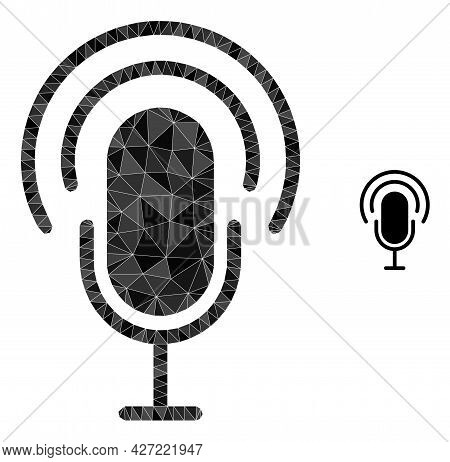 Triangle Podcast Polygonal Symbol Illustration. Podcast Lowpoly Icon Is Filled With Triangles. Flat