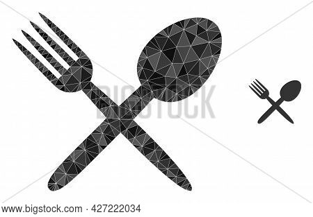 Triangle Fork And Spoon Polygonal Icon Illustration. Fork And Spoon Lowpoly Icon Is Filled With Tria