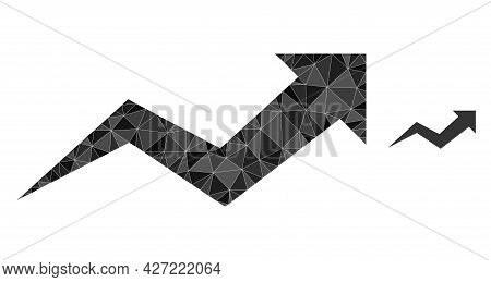 Triangle Growing Arrow Chart Polygonal Icon Illustration. Growing Arrow Chart Lowpoly Icon Is Filled