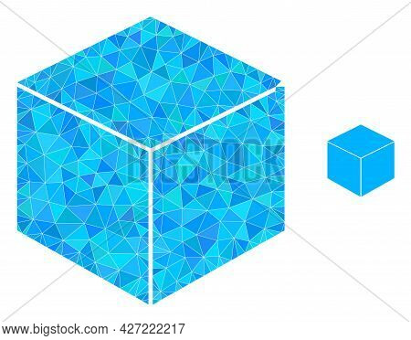 Triangle Sugar Cube Polygonal Icon Illustration. Sugar Cube Lowpoly Icon Is Filled With Triangles. F
