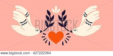 Dove With An Olive Branch, A Symbol Of Peace. Symmetric Composition With Two White Pigeons And In St