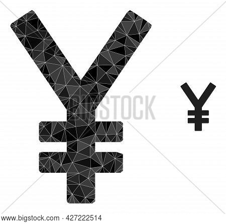 Triangle Yen Polygonal Symbol Illustration. Yen Lowpoly Icon Is Filled With Triangles. Flat Filled G
