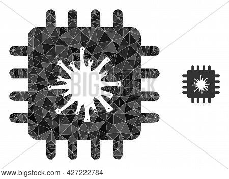 Triangle Infected Chip Polygonal Symbol Illustration. Infected Chip Lowpoly Icon Is Filled With Tria