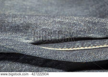 Denim Texture Or Denim Jeans Background Close Up. Jeans Background.