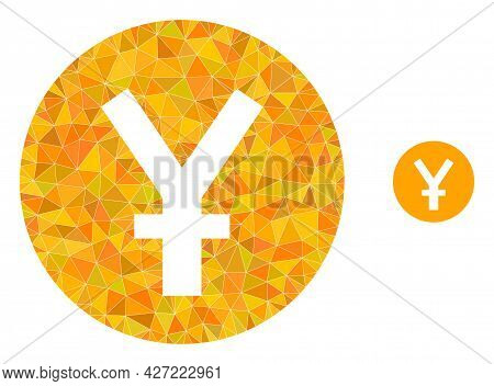 Triangle Yuan Coin Polygonal Symbol Illustration. Yuan Coin Lowpoly Icon Is Filled With Triangles. F