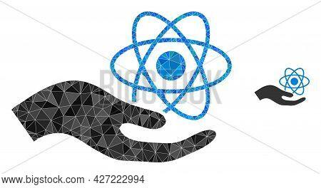 Triangle Quantum Service Hand Polygonal Icon Illustration. Quantum Service Hand Lowpoly Icon Is Fill