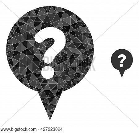 Triangle Question Banner Polygonal Icon Illustration. Question Banner Lowpoly Icon Is Filled With Tr