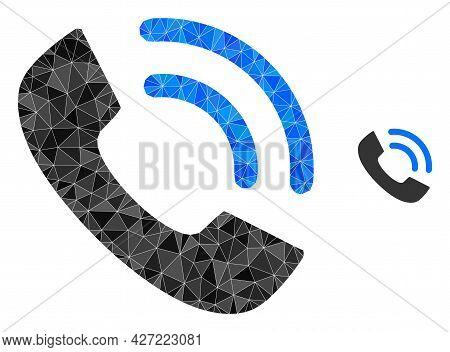 Triangle Phone Ring Polygonal Icon Illustration. Phone Ring Lowpoly Icon Is Filled With Triangles. F